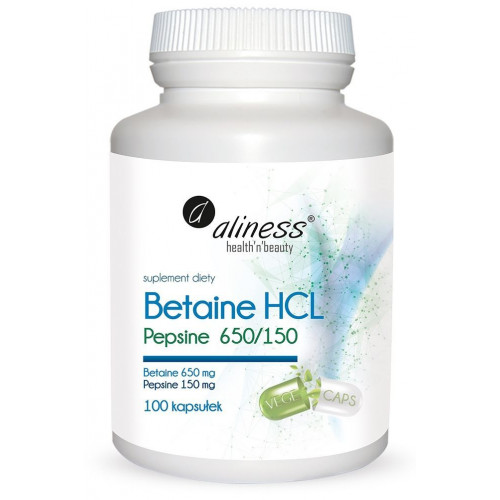Aliness - Betaine HCl, Pepsine 650/150 mg - 100 kapsułek