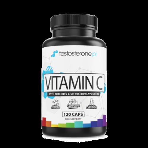 Testosterone - Witamina C-1000 + Bioflawonoidy + Dzika Róża - 120 kapsułek