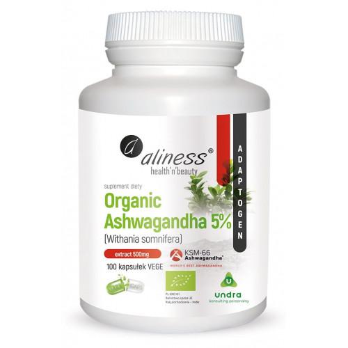 Aliness - Organic Ashwagandha 5% KSM-66 500 mg  - 100 kapsułek