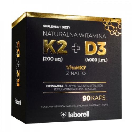Laborell - Naturalna witamina K2 200 mcg + D3 4000 IU - 90 kapsułek