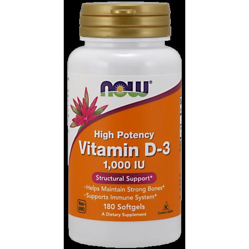 NOW - Vitamin D-3 1,000 IU - 180 kapsułek