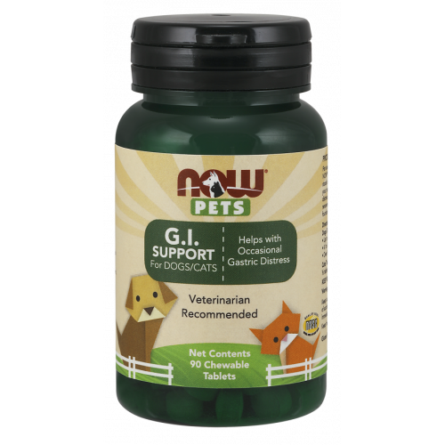 NOW Pets - G.I. Support for Dogs & Cats - 90 tabletek