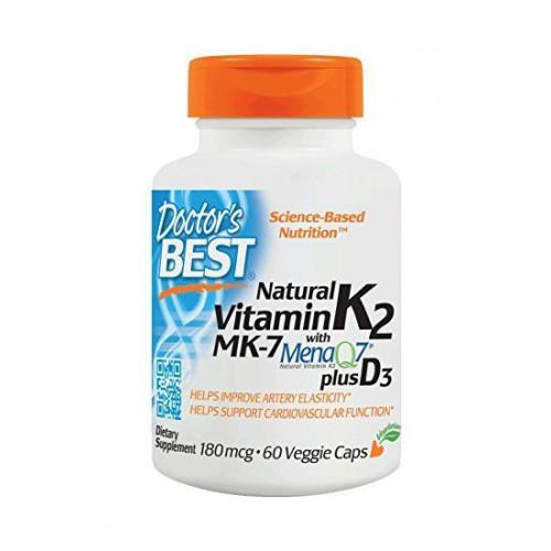 Doctor's Best - Natural Vitamin K2 MK7 plus D3 180 mcg - 60 kapsułek