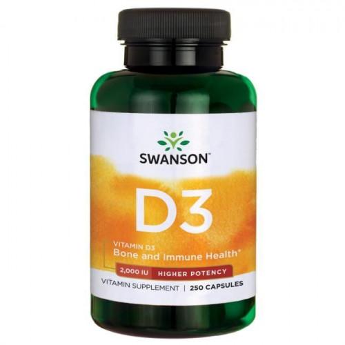Swanson - Vitamin D-3 2,000 IU Higher Potency - 250 kapsułek