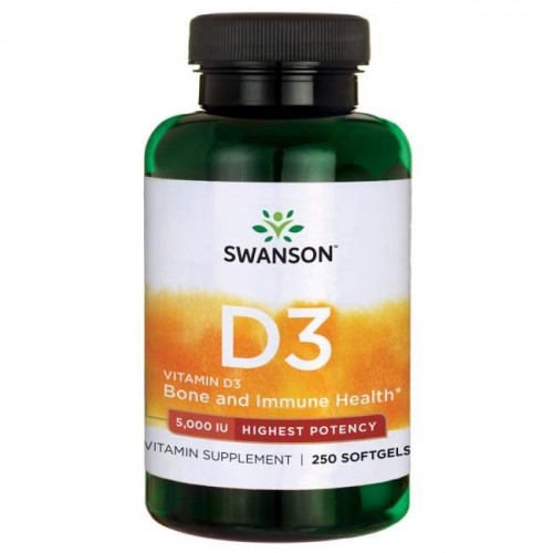 Swanson - Vitamin D-3 5,000 IU Highest Potency - 250 kapsułek