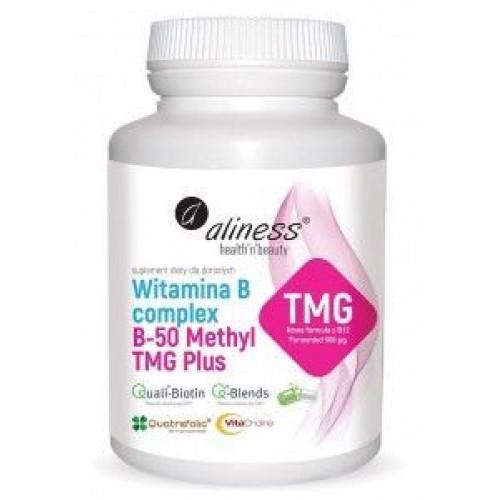 Aliness - Witamina B Complex B-50 Methyl TMG PLUS - 100 kapsułek