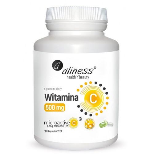 Aliness - Witamina C 500 mg MICROACTIVE 12h - 100 kapsułek