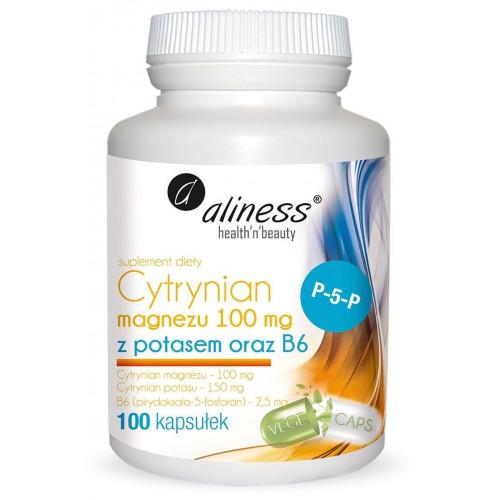 Aliness - Cytrynian Magnezu 100 mg z potasem 150 mg B6 (P-5-P) - 100 kapsułek