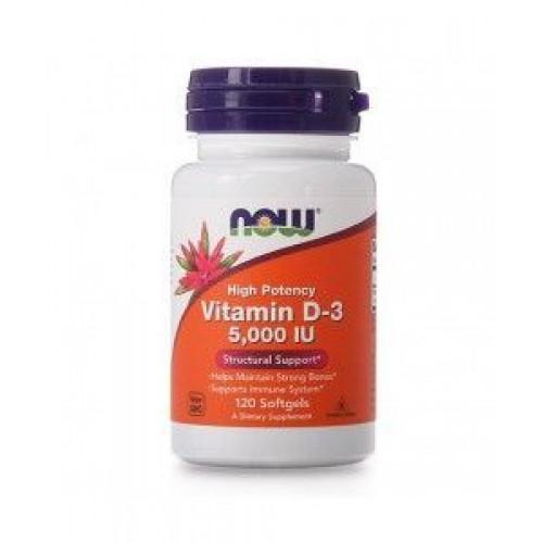 NOW - Vitamin D-3 5,000 IU - 120 kapsułek